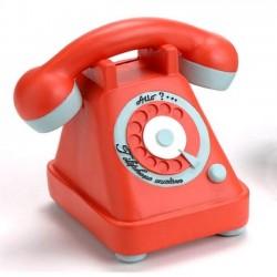 Tirelire téléphone rétro orange Allo