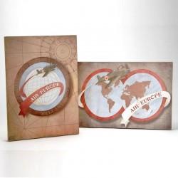 Deux toiles peintes Air Europe Voyage Monde