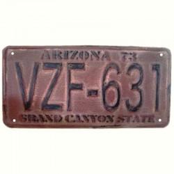 Plaque vieillie rouge immatriculation Arizona