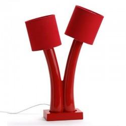 Lampe double rouge deux abat-jours