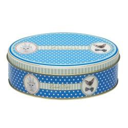 Boite bleue ovale pour chat