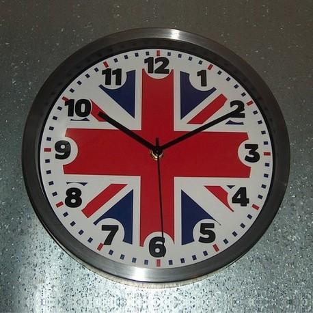 Horloge alu bross union jack 25 cm d co britannique for Cuisine alu brosse