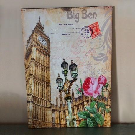 Plaque déco bois Big Ben