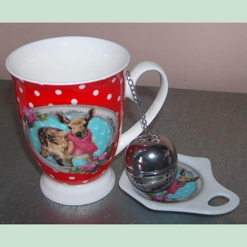 mug faon infuseur boule th en inox et support porcelaine. Black Bedroom Furniture Sets. Home Design Ideas