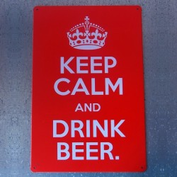 Plaque métal rouge Keep Calm And Drink Beer