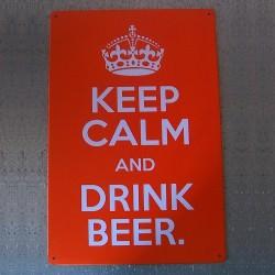 Plaque métal orange Keep Calm And Drink Beer