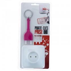Porte-clés prise rose avec socle