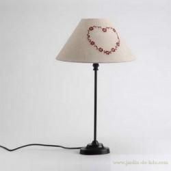 Lampe cœur rouge brodé