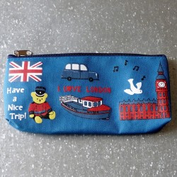 Trousse scolaire bleue I Love London - Have a nice trip