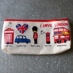 Trousse scolaire beige I Love London - Symboles