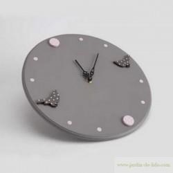 Horloge pendule rêve pois oiseaux