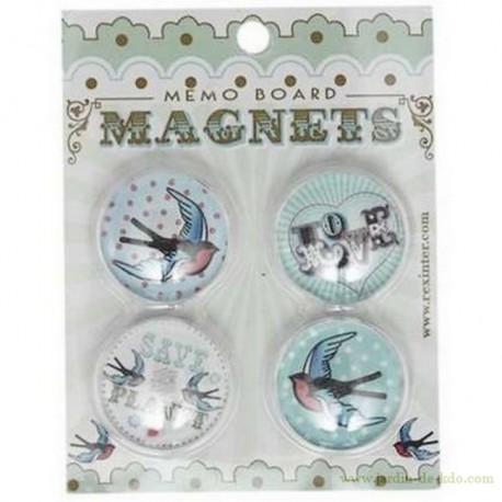 """Pack de 4 magnets """"Hirondelles Rétro"""""""
