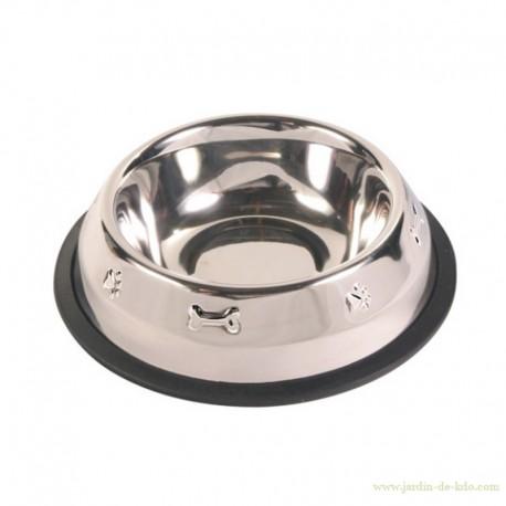 Gamelle inox antidérapante chien 21 cm