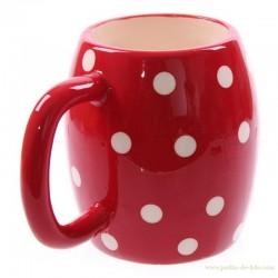 Mug rouge à pois blancs Polka