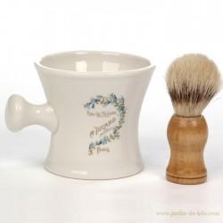 Pot et brosse de rasage ou blaireau picard paris