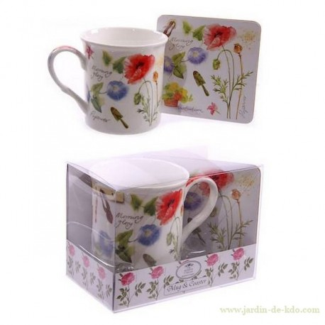 "Mug & Dessous de Tasse ""Morning Glory"""