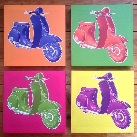 Quatuor de cadres scooters colors pop art