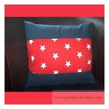 Coussin étoiles blanches style américain