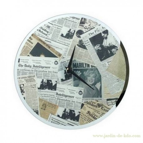 Horloge Newspaper vintage Marilyn Daily Journaux