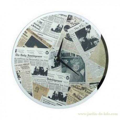 Horloge Newspaper vintage Marilyn Daily Journaux