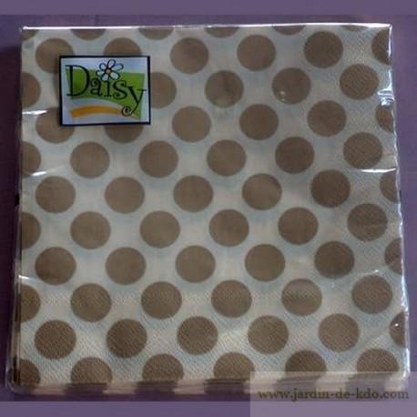 Lot 20 serviettes pois taupe fond beige Daisy