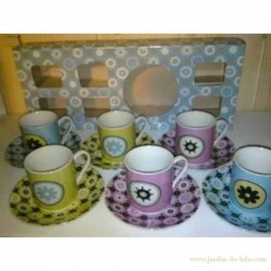 "Ensemble 6 tasses et soucoupes ""Engrenages azulejos"""