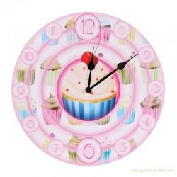 Horloge Cupcakes Gâteaux Couleurs Tendres
