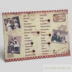 Plaque aimantée liste de courses vieille famille