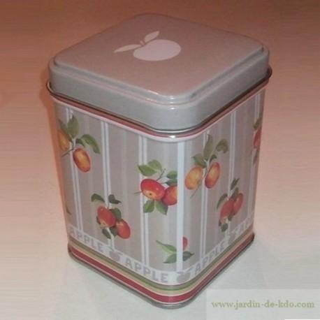 Boite métal pommes rouges apple
