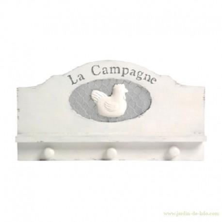 Porte-Manteaux Poule Campagne Grillage Bois Jolipa