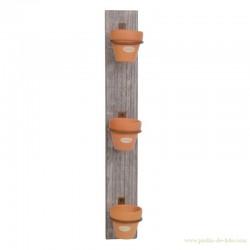 Support en bois et ses 3 cache-pots