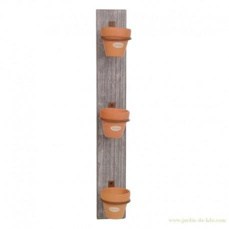 Support en bois naturel et ses trois cache-pots