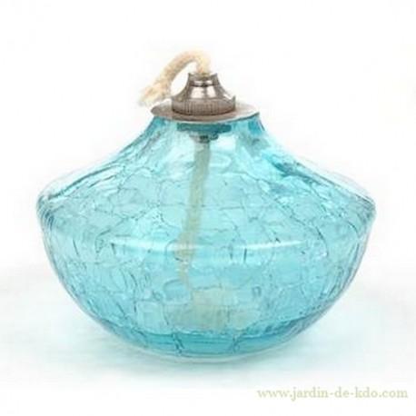 Lampe à huile toupie en verre bleu craquelé