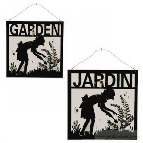 Plaque Jardin Garden Femme Jardine