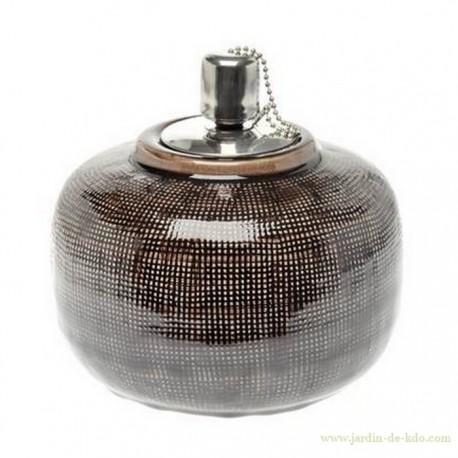 Lampe à huile boule céramique gaufrée