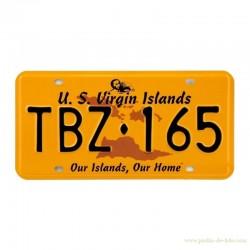 Plaque métal orange US Virgin Islands Our Islands Our Home