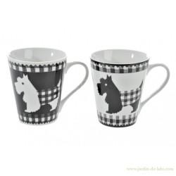 Set 2 mugs chien noir et chien blanc carreaux écossais