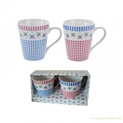 Boite de 2 mugs fleurs pois rayures carreaux couleurs tendres