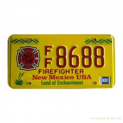 Plaque immatriculation New Mexico USA Firefighter Land Enchantment