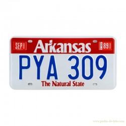 Plaque américaine licence plate Arkansas Natural State rouge et blanche
