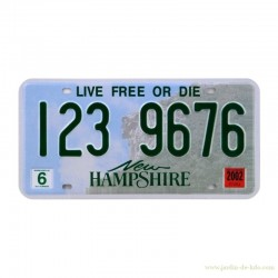 Plaque américaine USA New Hampshire Live Free Or Die stickers validité