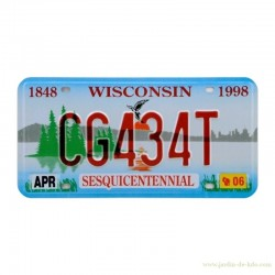 Plaque reproduction licence plate Wisconsin Sesquicentennial nature