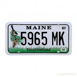 Plaque alu embossé USA Car Maine Vacationland