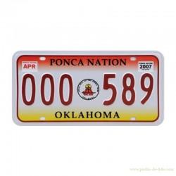 Plaque Etat Oklahoma Indiens Ponca Nation