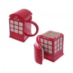 """Tasse et Couvercle """"Cabine téléphonique rouge"""""""