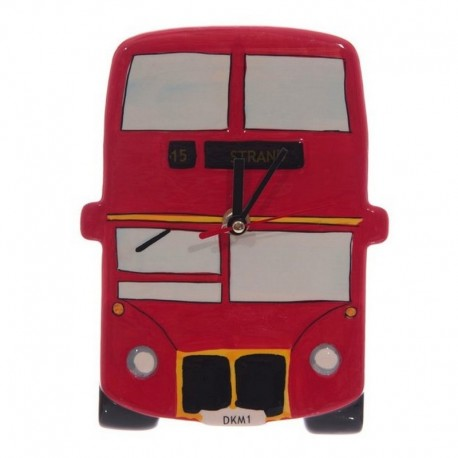 Horloge céramique bus anglais Londres rouge