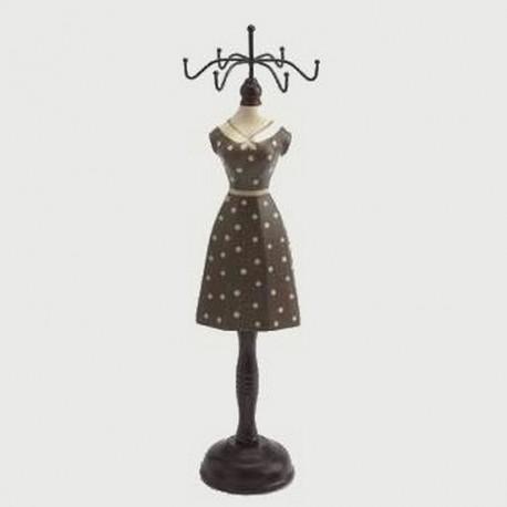 Porte bijoux mannequin robe marron foncé