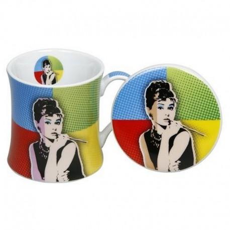 Mug et soucoupe Audrey Hepburn Pop Art