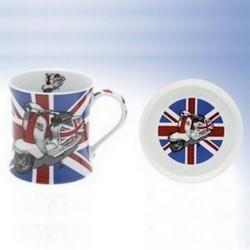 """Mug et soucoupe """"Scooter UK Rouge"""""""