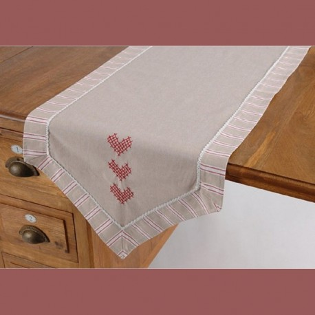 Chemin de table cœurs aux point de croix rayures et dentelle
